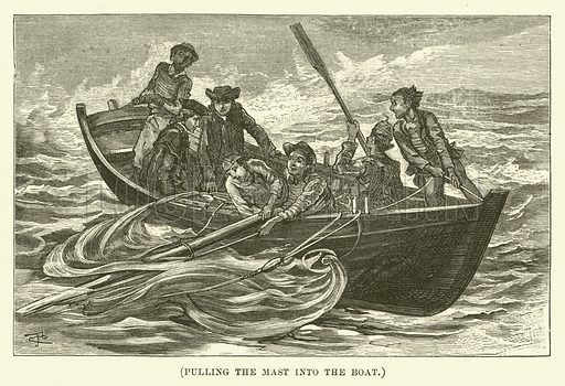 Pulling the mast into the boat. Illustration for Wesley His Own Biographer, being selections from the journals of John Wesley (CH Kelly, 1891).