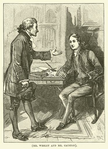 Mr Wesley and Mr Causton. Illustration for Wesley His Own Biographer, being selections from the journals of John Wesley (CH Kelly, 1891).