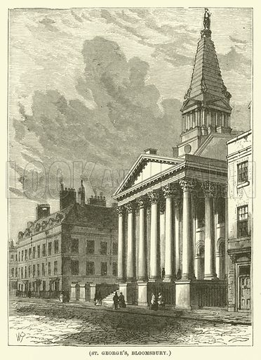 St George's, Bloomsbury. Illustration for Wesley His Own Biographer, being selections from the journals of John Wesley (C H Kelly, 1891).