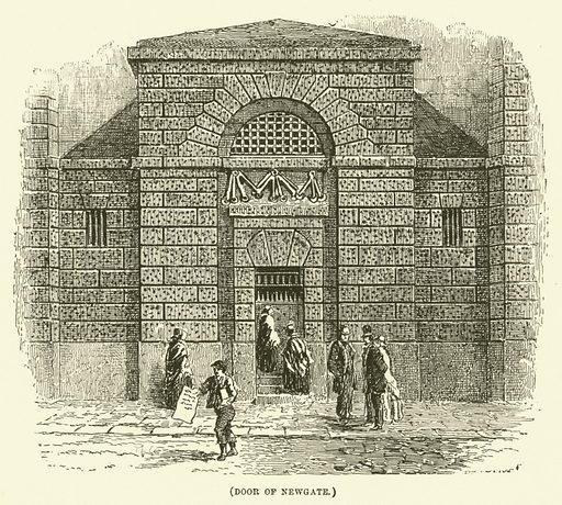 Door of Newgate. Illustration for Wesley His Own Biographer, being selections from the journals of John Wesley (CH Kelly, 1891).