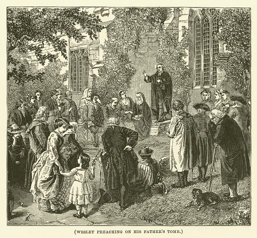 Wesley preaching on his father's tomb. Illustration for Wesley His Own Biographer, being selections from the journals of John Wesley (CH Kelly, 1891).