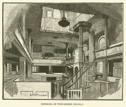 Interior of West-Street Chapel. Illustration for Wesley His Own Biographer, being selections from the journals of John Wesley (CH Kelly, 1891).