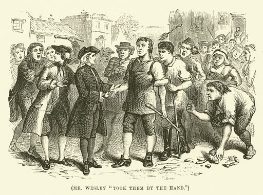 """Mr Wesley """"took them by the hand"""". Illustration for Wesley His Own Biographer, being selections from the journals of John Wesley (CH Kelly, 1891)."""