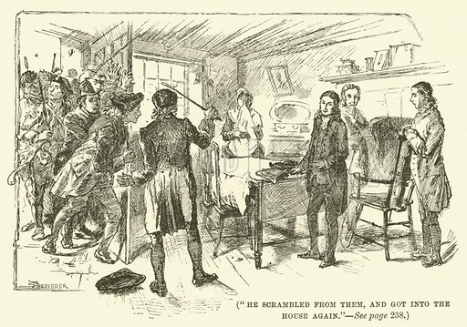 He scrambled from them, and got into the house again. Illustration for Wesley His Own Biographer, being selections from the journals of John Wesley (C H Kelly, 1891).