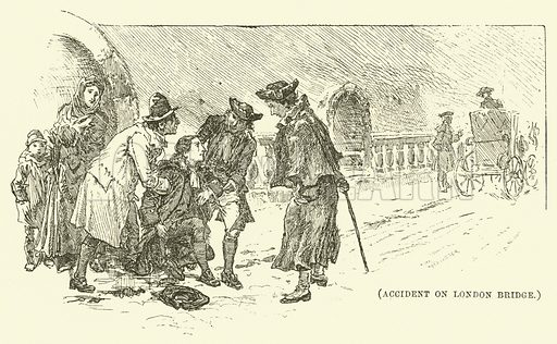 Accident on London Bridge. Illustration for Wesley His Own Biographer, being selections from the journals of John Wesley (C H Kelly, 1891).