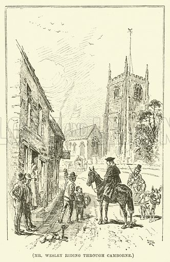 Mr Wesley riding through Camborne. Illustration for Wesley His Own Biographer, being selections from the journals of John Wesley (C H Kelly, 1891).