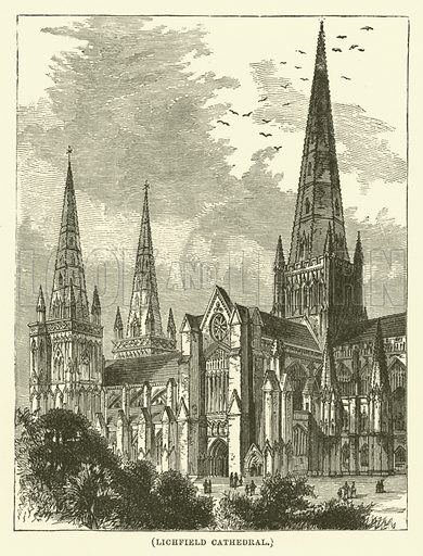 Lichfield Cathedral. Illustration for Wesley His Own Biographer, being selections from the journals of John Wesley (CH Kelly, 1891).