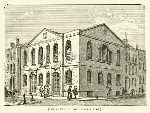 The French Church, Spitalfields. Illustration for Wesley His Own Biographer, being selections from the journals of John Wesley (CH Kelly, 1891).