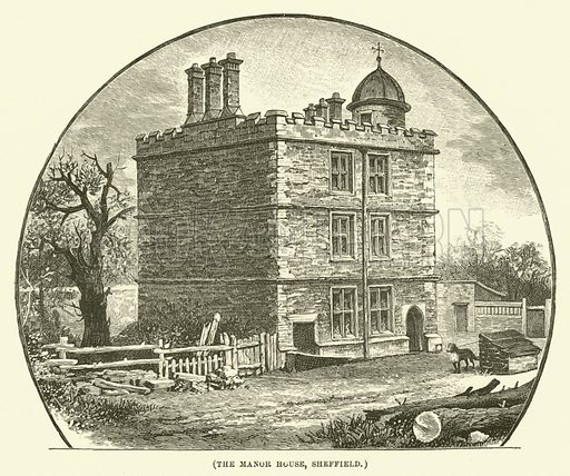 The Manor House, Sheffield. Illustration for Wesley His Own Biographer, being selections from the journals of John Wesley (CH Kelly, 1891).