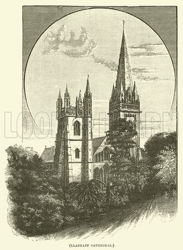 Llandaff Cathedral. Illustration for Wesley His Own Biographer, being selections from the journals of John Wesley (CH Kelly, 1891).