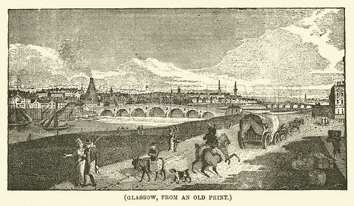 Glasgow, from an old print. Illustration for Wesley His Own Biographer, being selections from the journals of John Wesley (C H Kelly, 1891).