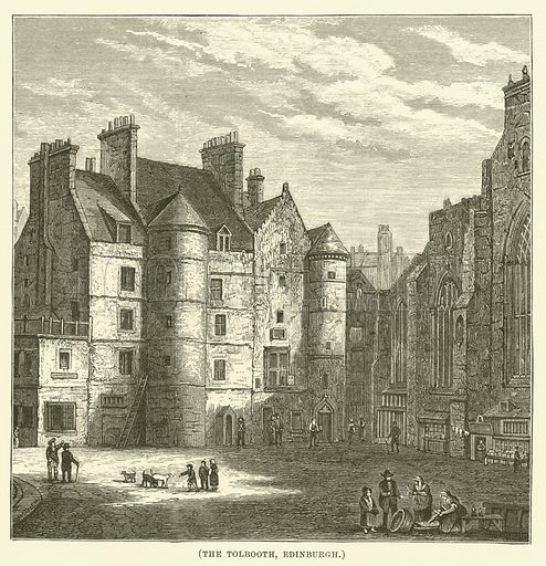 The Tolbooth, Edinburgh. Illustration for Wesley His Own Biographer, being selections from the journals of John Wesley (CH Kelly, 1891).