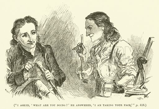 I asked, 'What are you doing?' He answered, 'I am taking your face'. Illustration for Wesley His Own Biographer, being selections from the journals of John Wesley (CH Kelly, 1891).
