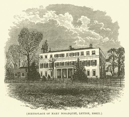 Birthplace of Mary Bosanquet, Leyton, Essex. Illustration for Wesley His Own Biographer, being selections from the journals of John Wesley (CH Kelly, 1891).