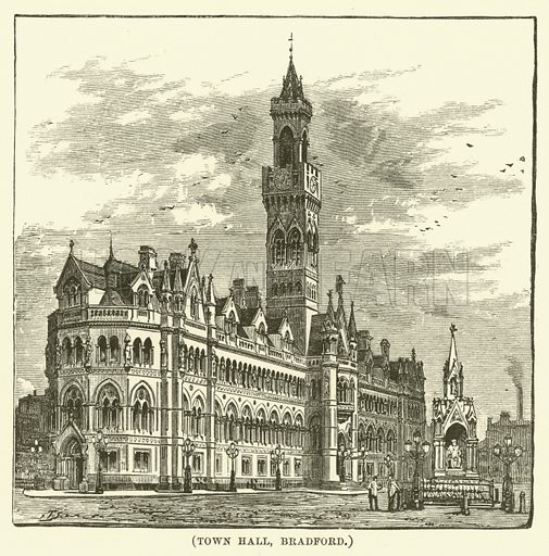 Town Hall, Bradford. Illustration for Wesley His Own Biographer, being selections from the journals of John Wesley (CH Kelly, 1891).