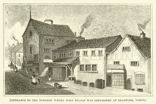 Entrance to the dungeon where John Nelson was imprisoned at Bradrofd, Yorks. Illustration for Wesley His Own Biographer, being selections from the journals of John Wesley (CH Kelly, 1891).
