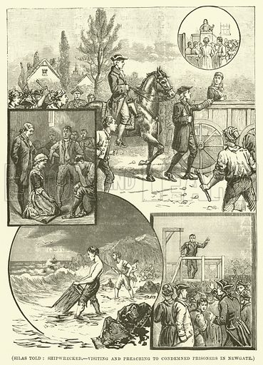 Silas Told, shipwrecked, visiting and preaching to condemned prisoners in Newgate. Illustration for Wesley His Own Biographer, being selections from the journals of John Wesley (CH Kelly, 1891).