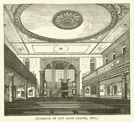 Interior of City Road Chapel, 1861. Illustration for Wesley His Own Biographer, being selections from the journals of John Wesley (CH Kelly, 1891).