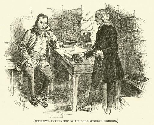 Wesley's interview with Lord George Gordon. Illustration for Wesley His Own Biographer, being selections from the journals of John Wesley (CH Kelly, 1891).