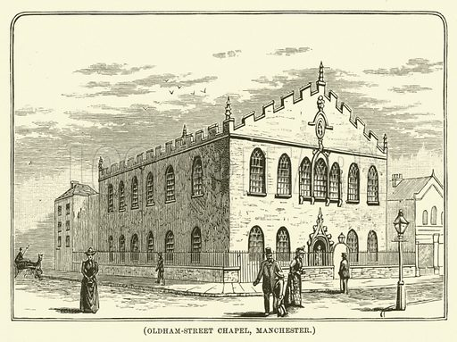 Oldham-Street Chapel, Manchester. Illustration for Wesley His Own Biographer, being selections from the journals of John Wesley (CH Kelly, 1891).