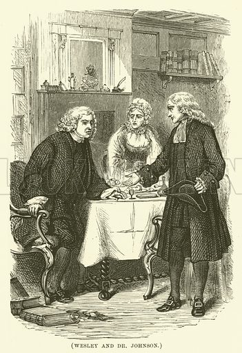 Wesley and Dr Johnson. Illustration for Wesley His Own Biographer, being selections from the journals of John Wesley (CH Kelly, 1891).