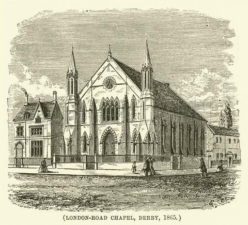 London-Road Chapel, Derby, 1865. Illustration for Wesley His Own Biographer, being selections from the journals of John Wesley (CH Kelly, 1891).