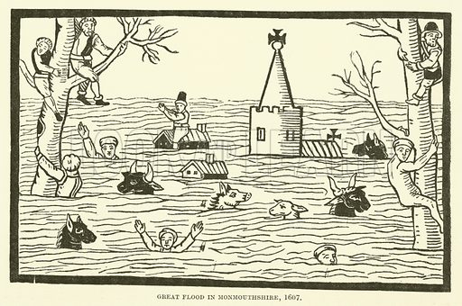 Great flood in Monmouthshire, 1607. Illustration for The Pictorial Press its Origins and Progress by Mason Jackson (Hurst and Blackett, 1885).