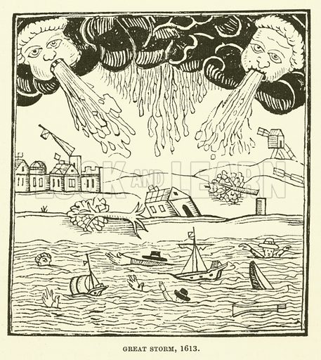 Great storm, 1613. Illustration for The Pictorial Press its Origins and Progress by Mason Jackson (Hurst and Blackett, 1885).