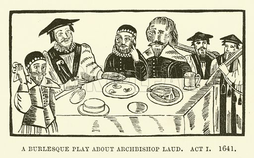 A burlesque play about Archbishop Laud, Act I, 1641. Illustration for The Pictorial Press its Origins and Progress by Mason Jackson (Hurst and Blackett, 1885).