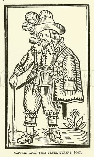 Captain Vaul, that cruel tyrant, 1642. Illustration for The Pictorial Press its Origins and Progress by Mason Jackson (Hurst and Blackett, 1885).