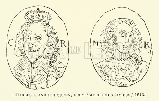 Charles I and his queen, from Mercurius Civicus, 1643. Illustration for The Pictorial Press its Origins and Progress by Mason Jackson (Hurst and Blackett, 1885).