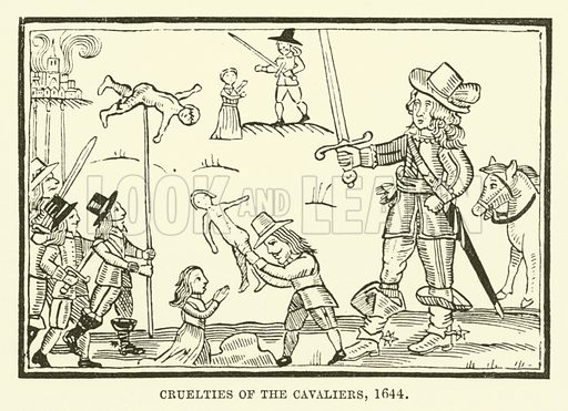 Cruelties of the cavaliers, 1644. Illustration for The Pictorial Press its Origins and Progress by Mason Jackson (Hurst and Blackett, 1885).