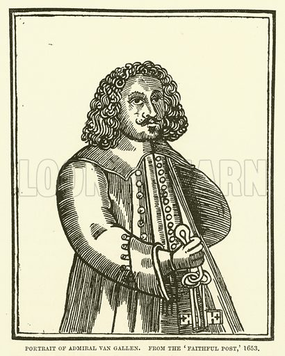 Portrait of Admiral Van Gallen, from the Faithful Post, 1653. Illustration for The Pictorial Press its Origins and Progress by Mason Jackson (Hurst and Blackett, 1885).