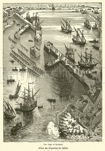 The Siege of Rochelle. Illustration for Stories of the Wars, 1574–1658 by John Tillotson (SO Beeton, 1867).