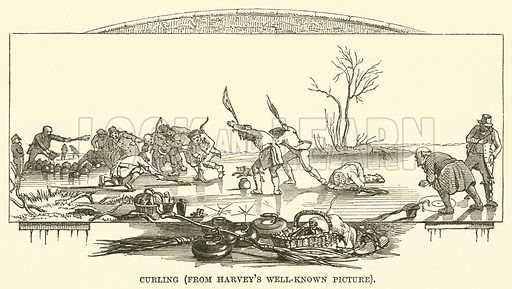 Curling, from Harvey's well-known picture. Illustration from The Book of Days (WR Chambers, c 1870).
