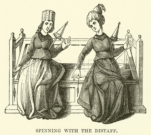Spinning with the Distaff. Illustration from The Book of Days (WR Chambers, c 1870).