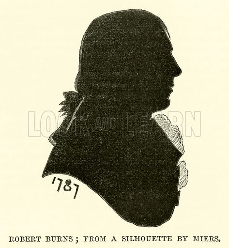 Robert Burns, from a silhouette by Miers. Illustration from The Book of Days (WR Chambers, c 1870).