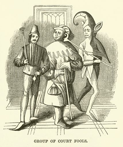 Group of Court Fools. Illustration from The Book of Days (WR Chambers, c 1870).