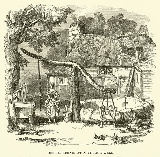 Ducking-Chair at a Village Well. Illustration from The Book of Days (WR Chambers, c 1870).