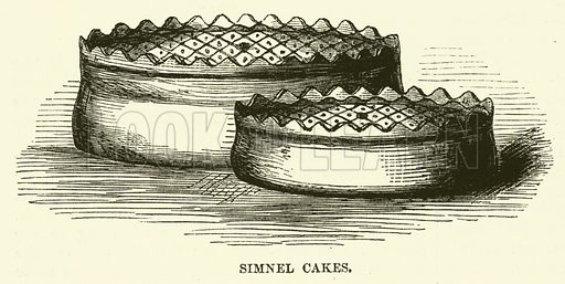 Simnel Cakes. Illustration from The Book of Days (WR Chambers, c 1870).