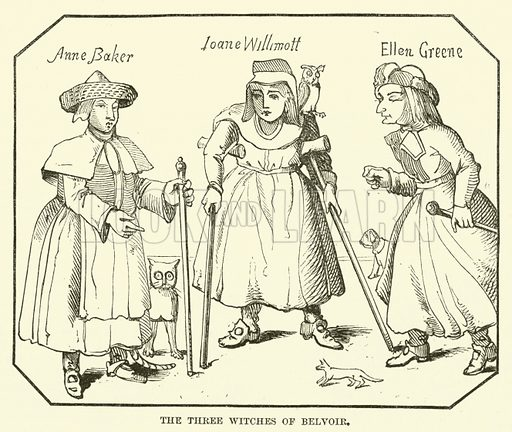 The Three Witches of Belvoir. Illustration from The Book of Days (W R Chambers, c 1870).