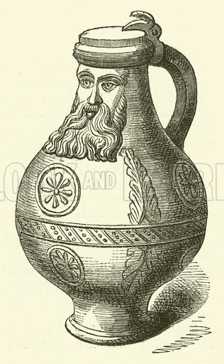The Greybeard, or Bellarmine. Illustration from The Book of Days (W R Chambers, c 1870).