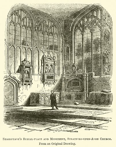 Shakspeare's Burial-Place and Monument, Stratford-upon-Avon Church. Illustration from The Book of Days (WR Chambers, c 1870).