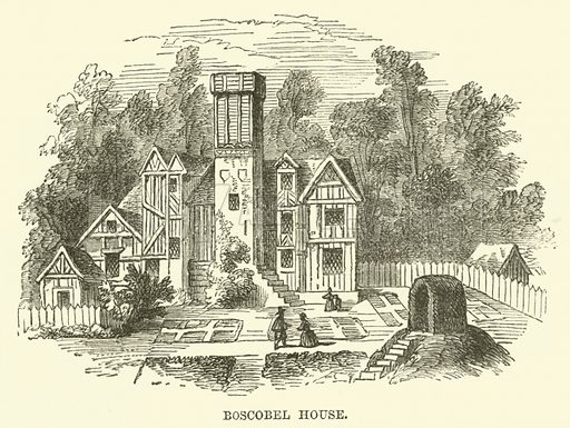 Boscobel House. Illustration from The Book of Days (WR Chambers, c 1870).