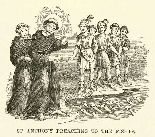 St Anthony preaching to the fishes. Illustration from The Book of Days (WR Chambers, c 1870).