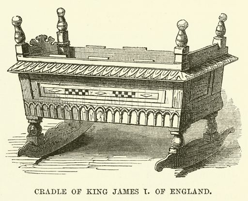 Cradle of King James I of England. Illustration from The Book of Days (WR Chambers, c 1870).