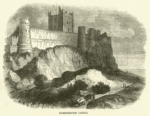 Bamborough Castle. Illustration from The Book of Days (WR Chambers, c 1870).