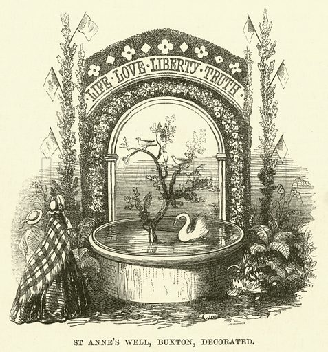 St Anne's Well, Buxton, decorated. Illustration from The Book of Days (WR Chambers, c 1870).
