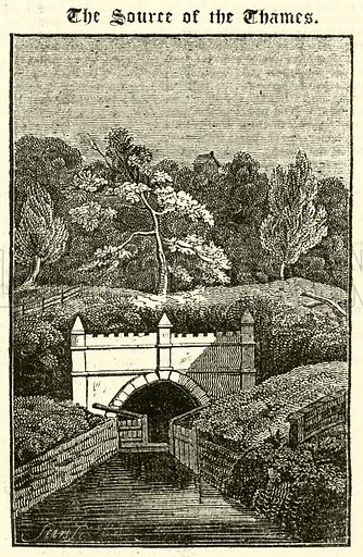 The Source of the Thames. Illustration for The Mirror of Literature, Amusement, and Instruction (J Limbird, 1823).