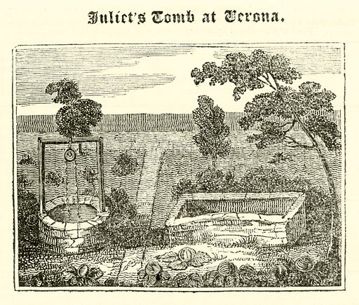 Juliet's Tomb at Verona. Illustration for The Mirror of Literature, Amusement, and Instruction (J Limbird, 1823).